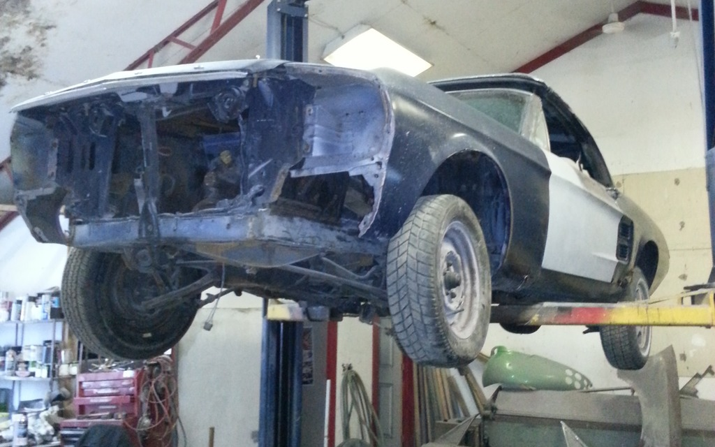 It`s hard to tell in this photo, but our Mustang is reasonably complete.