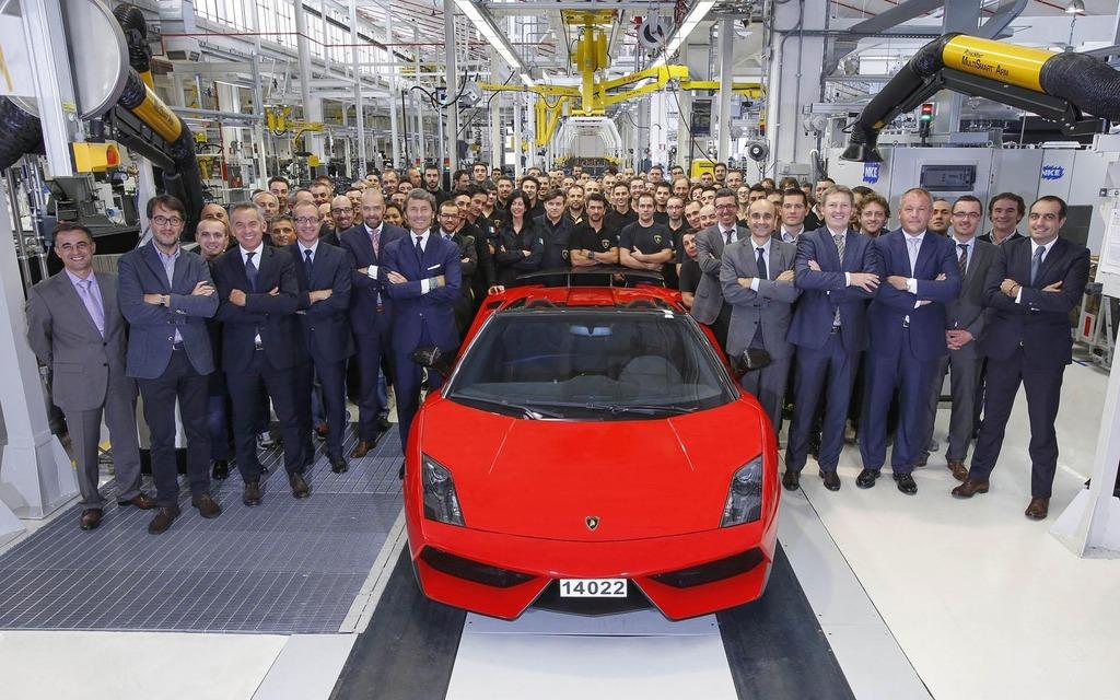 Dernière Lamborghini Gallardo assemblée à l'usine de Sant'Agata