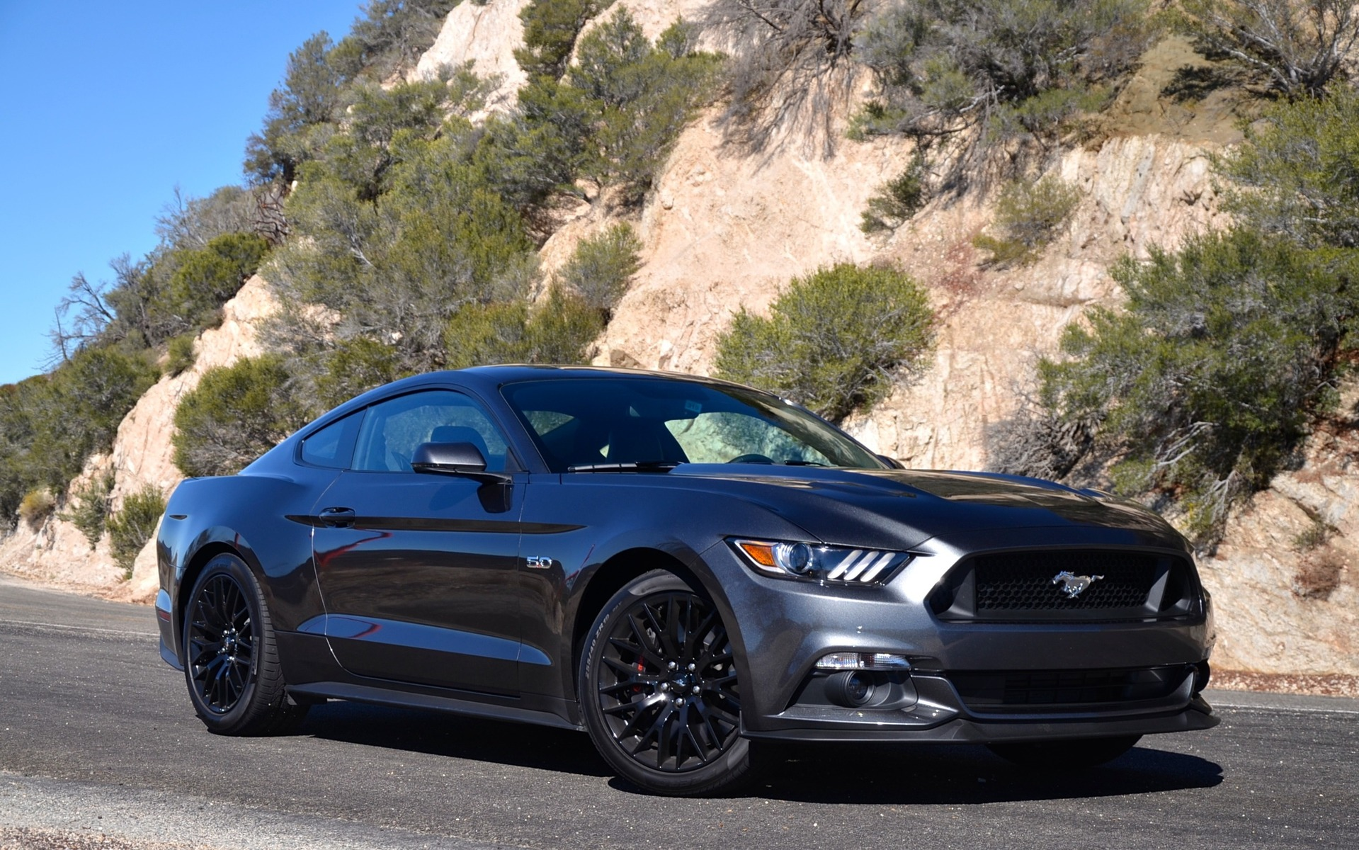 2015 ford mustang gt coupe on angeles crest highway near los angeles