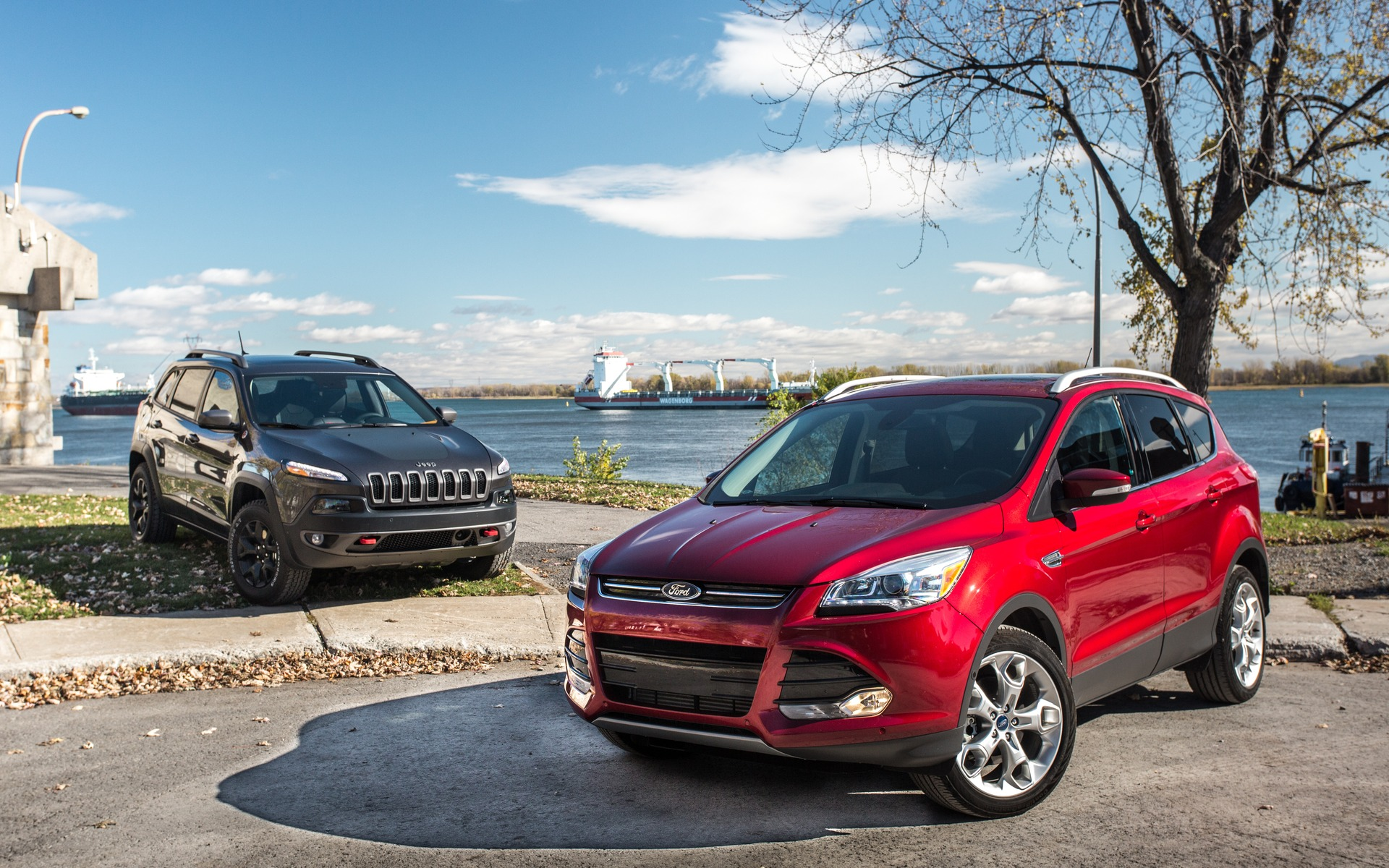 The Jeep Cherokee Trailhawk and Ford Escape Titanium look nothing alike.