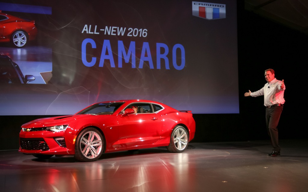 Mark Reuss introducing the Camaro. He looks proud—and with good reason!