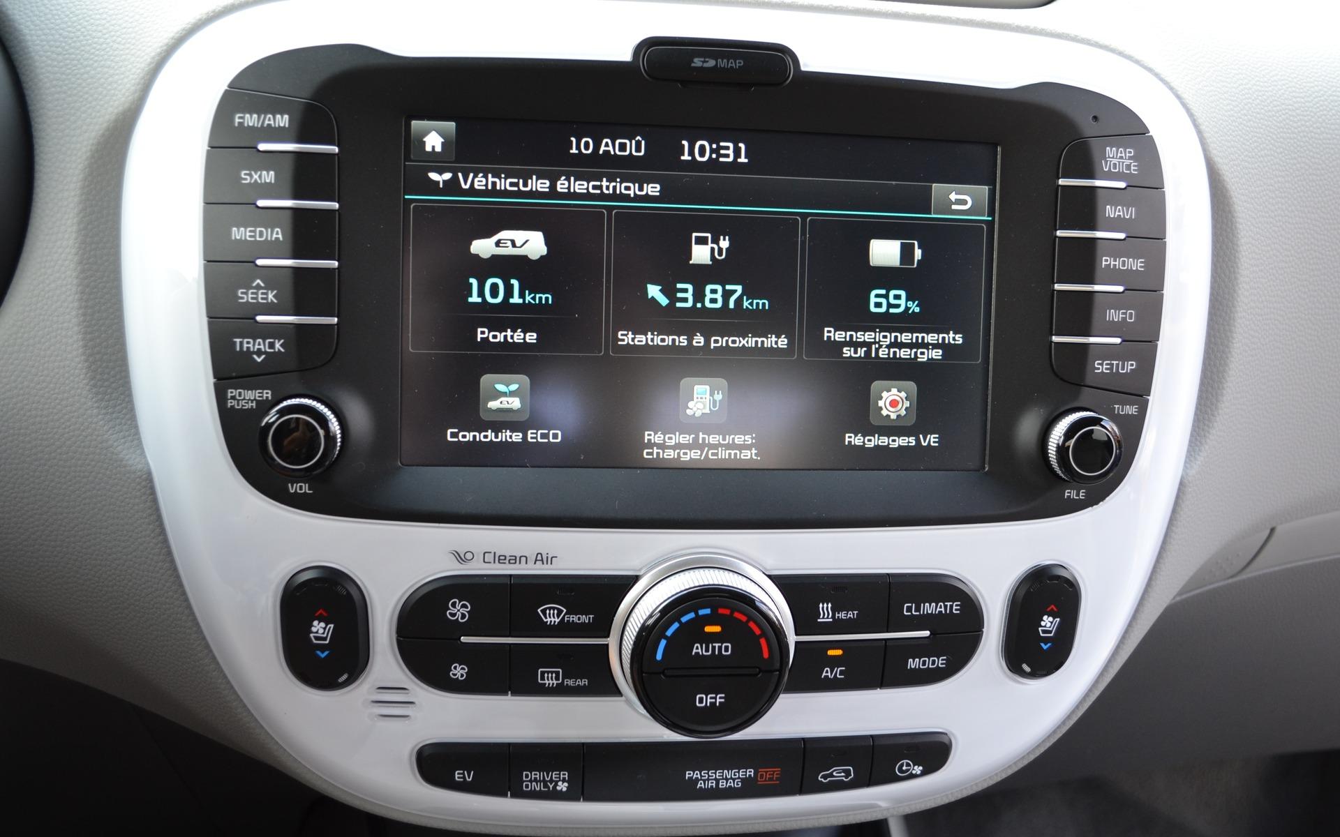 L'écran présente plusieurs informations utiles au conducteur