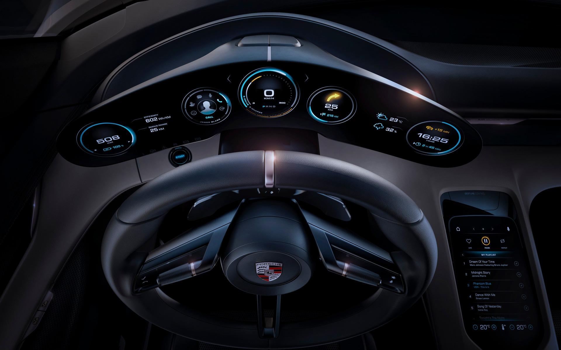 Porsche Mission E - le poste de pilotage