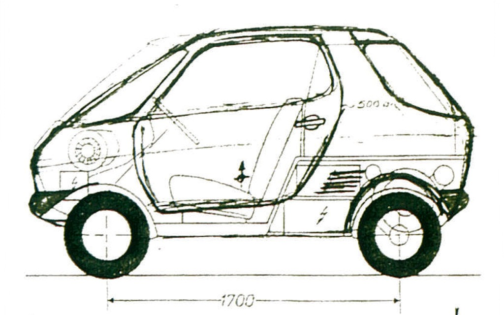 The very first sketch that would lead to the smart 30 years later (1972).