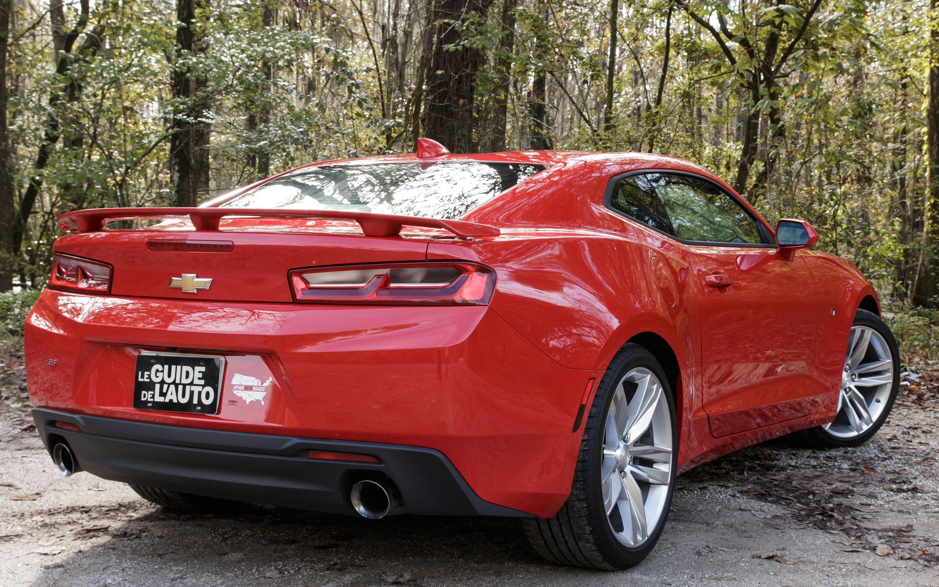 The Camaro's tail end is raised, which hinders visibility.
