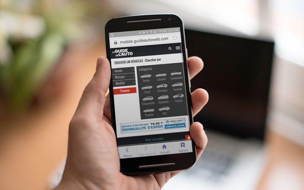 le guide de l auto d voile son nouveau site mobile et une nouvelle section de voitures neuves et. Black Bedroom Furniture Sets. Home Design Ideas