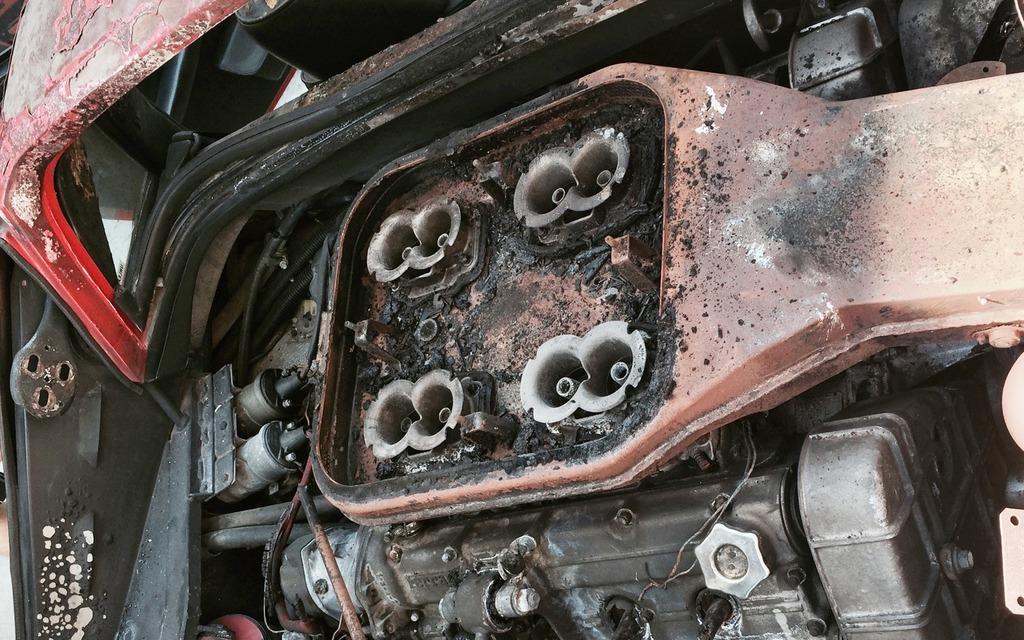Fire destroyed the original powertrain.