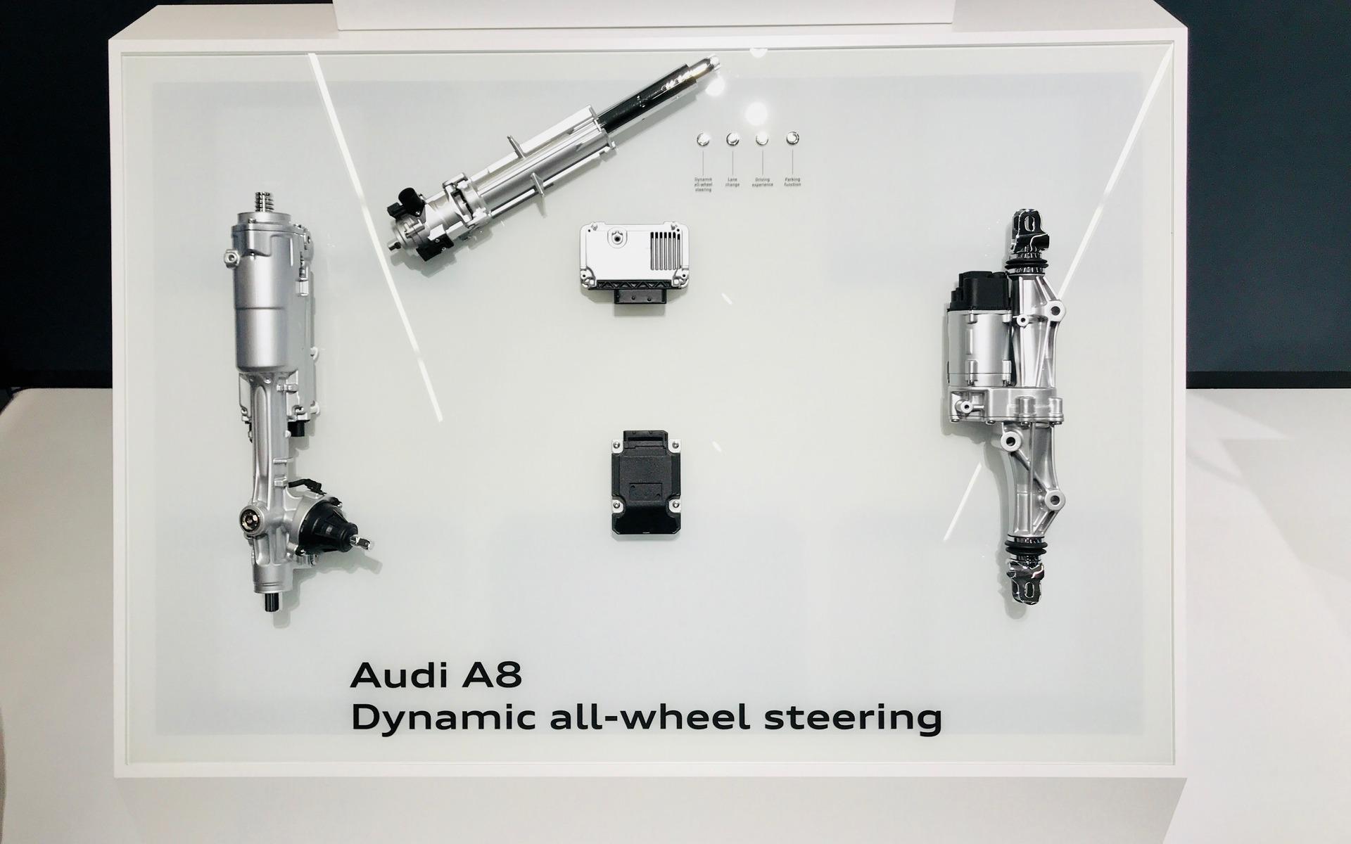 <p>Audi A82019 - Composantes de la direction aux quatre roues.</p>