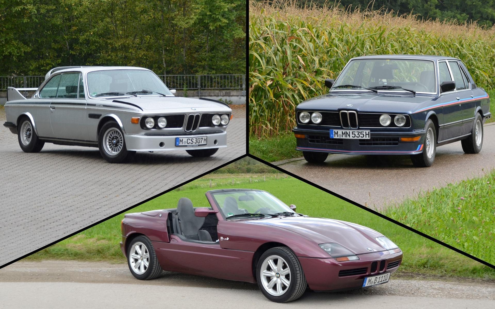 <p>BMW 3.0 CSL 1973, BMW M535i 1981 et BMW Z11991</p>