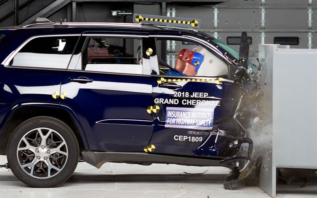 <p>2018 Jeep Grand Cherokee right-side small overlap front crash test</p>