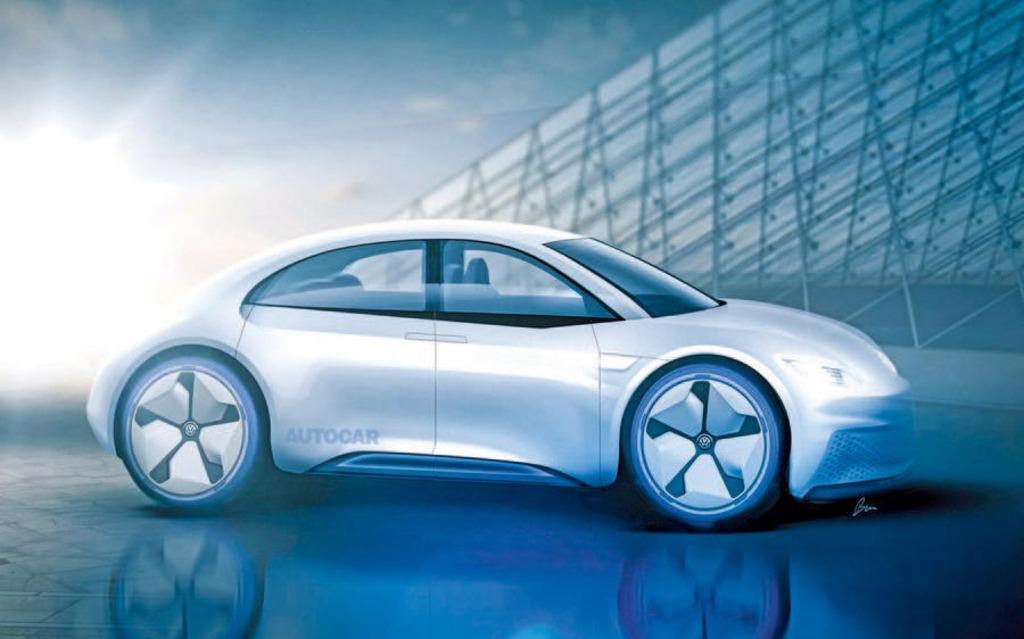 Artist rendering of a four-door electric Volkswagen Beetle