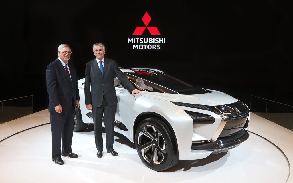 Mitsubishi e-EVOLUTION Concept unveiled at the 2019 Montreal Auto Show. Accompanied by Tony Laframboise, president and CEO of Mitsubishi Motor Sales of Canada and Vincent Cobee, executive planning officer for Mitsubishi Motors worldwide.
