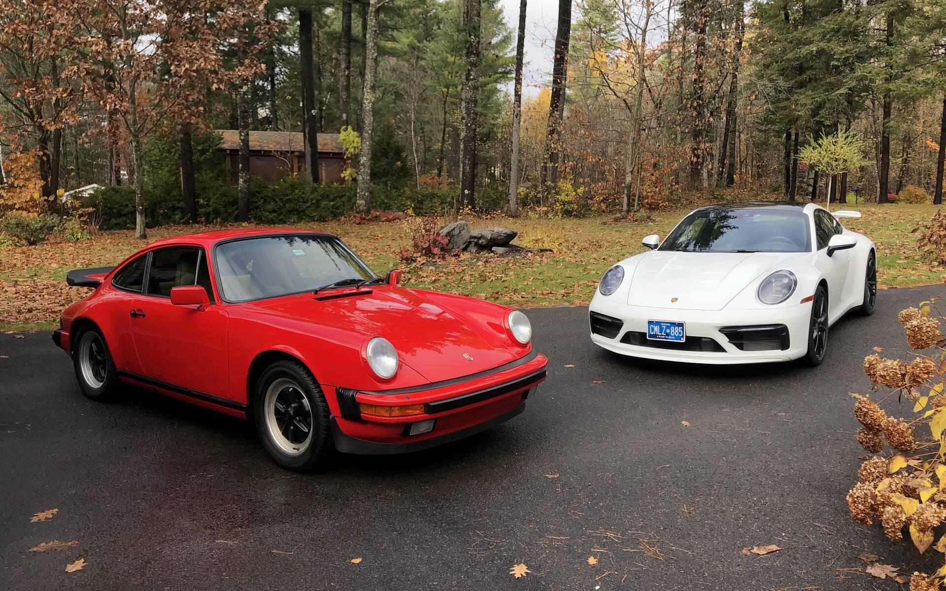 <p>Porsche 911 Carrera 3.2&nbsp;1985, Porsche 911 Carrera S 2020</p>
